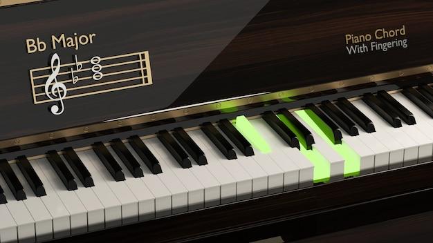 Klasyczne pianino z akordem bb-dur na klawiszach fortepianu muzyka klasyczna rozrywkowa instrument akustyczny