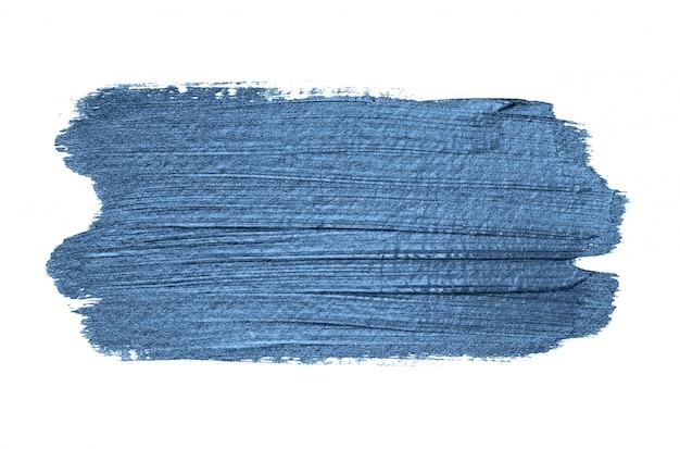 Klasyczne pociągnięcia pędzlem niebieski metalik na białym tle