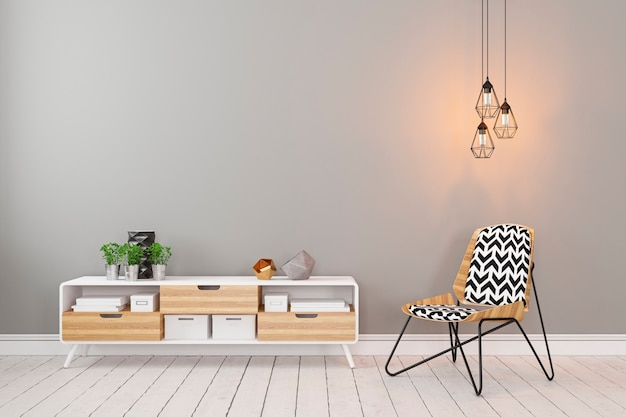 Klasyczne skandynawskie szare puste wnętrze z komodą, krzesłem, lampą na poddaszu i roślinami. ilustracja renderowania 3d.