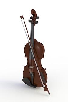 Klasyczne skrzypce z kokardą na białym tle