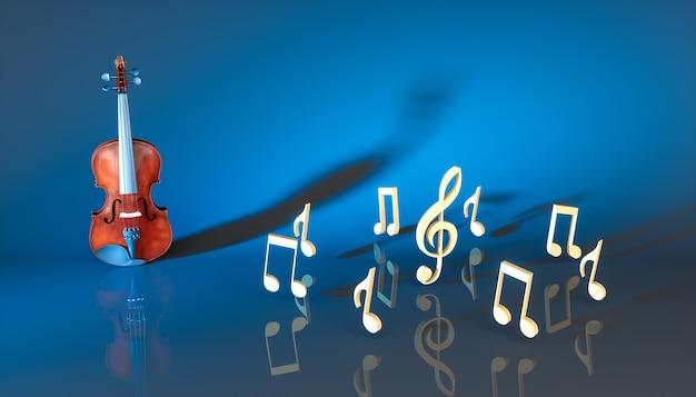 Klasyczne skrzypce z notatkami na niebieskim tle, ilustracja 3d