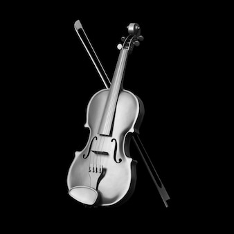 Klasyczne srebrne skrzypce z kokardą na czarnym tle. renderowanie 3d