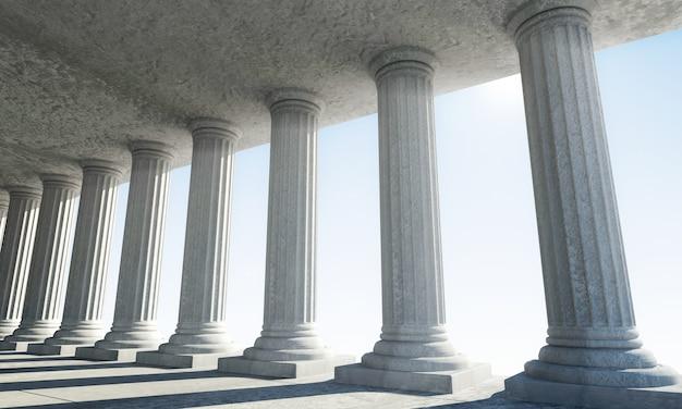 Klasyczne starożytne wnętrze z kolumnami