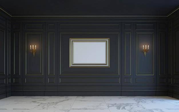 Klasyczne wnętrze ma ciemne odcienie. renderowania 3d.