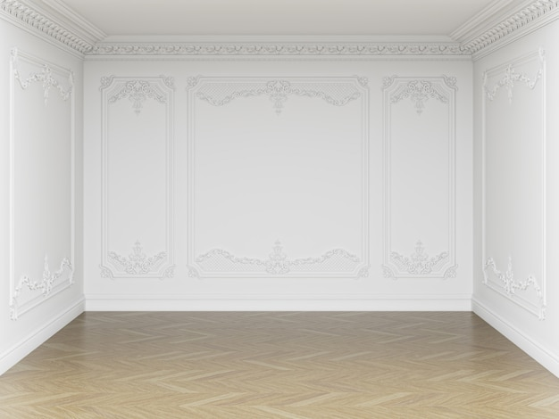 Klasyczne wnętrze pustego pokoju. ściany z listwami i ozdobnym gzymsem. parkiet podłogowy w jodełkę. renderowania 3d