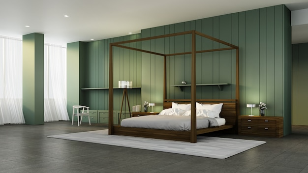 Klasyczne wnętrze sypialni i zielona ściana / wnętrze renderowania 3d