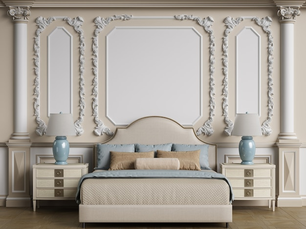 Klasyczne wnętrze sypialni z przestrzenią do kopiowania