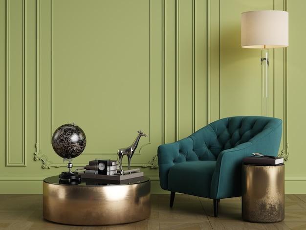 Klasyczne wnętrze w zielonej kolorystyce. ściany z listwami. renderowanie 3d