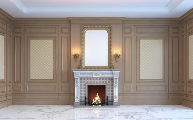 Klasyczne wnętrze z drewnianymi panelami i kominkiem. renderowania 3d.