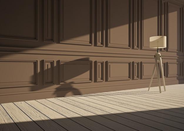 Klasyczne wnętrze z lampą i panelami ściennymi