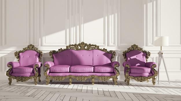 Klasyczne wnętrze z lampą podłogową w fotelu i panelami ściennymi