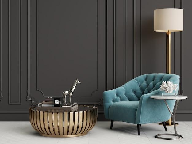 Klasyczne wnętrze z niebieskimi fotelami i lampą podłogową