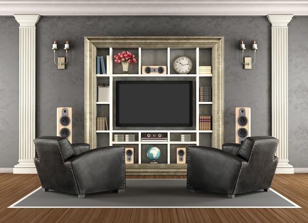 Klasyczne wnętrze z systemem kina domowego. renderowanie 3d