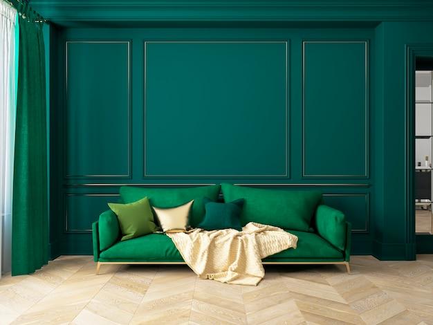 Klasyczne zielone wnętrze z sofą. wnętrze renderowania 3d.