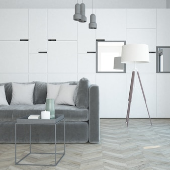 Klasyczny biały luksusowy salon z nowoczesnymi meblami i aksamitną sofą