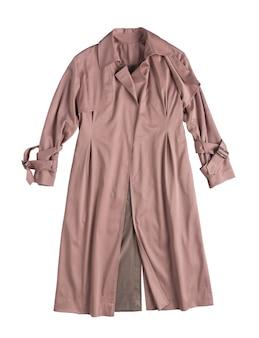 Klasyczny damski płaszcz przeciwdeszczowy na białym tle