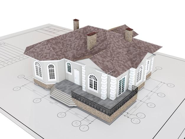 Klasyczny dom na rysunku na białym tle. budynek, architektura zewnętrzna. ilustracja renderowania 3d.