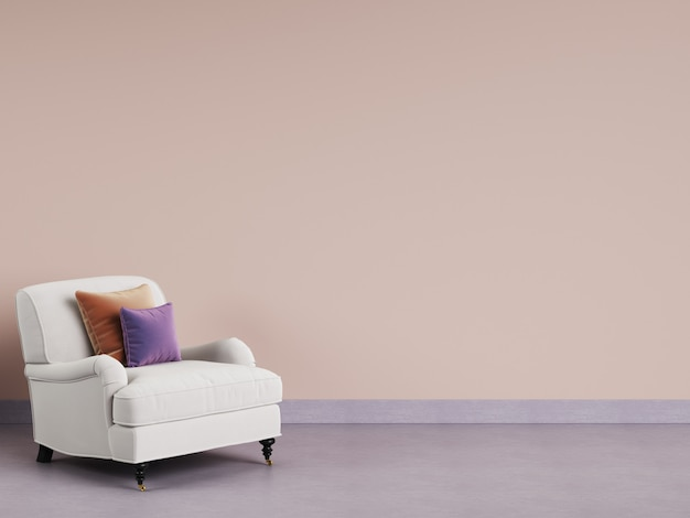 Klasyczny fotel w pustym pokoju. różowa ściana, fioletowa podłoga, pastelowa gamma. renderowania 3d