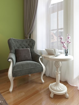 Klasyczny fotel z białym stolikiem kawowym, wschodni styl sypialni. 3drenderowanie