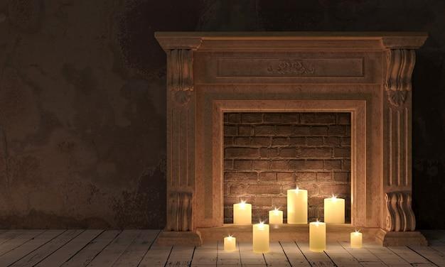 Klasyczny kominek w klasycznym pokoju nocnym