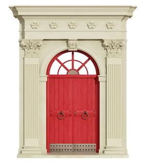Klasyczny łuk z kolumną koryncką i czerwonymi drzwiami wejściowymi. renderowanie 3d