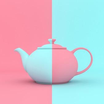 Klasyczny niebieski i różowy czajnik