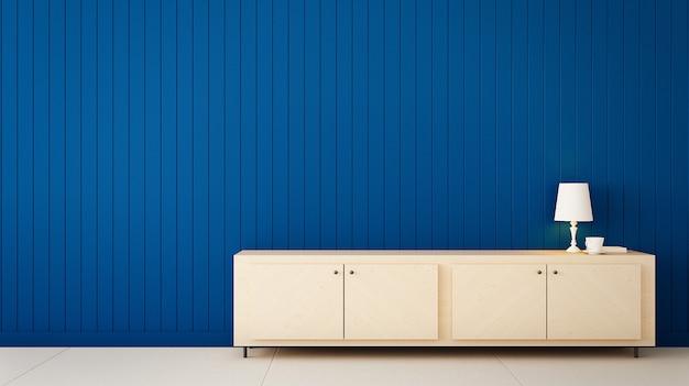 Klasyczny niebieski kolor ścian do renderowania domu i wnętrza / 3d