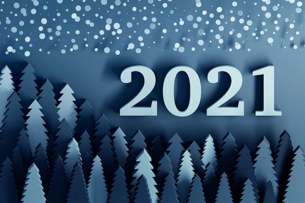 Klasyczny niebieski nowy rok 2021 kartkę z życzeniami