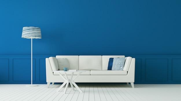 Klasyczny niebieski salon i luksusowa ściana wewnętrzna / rendering 3d