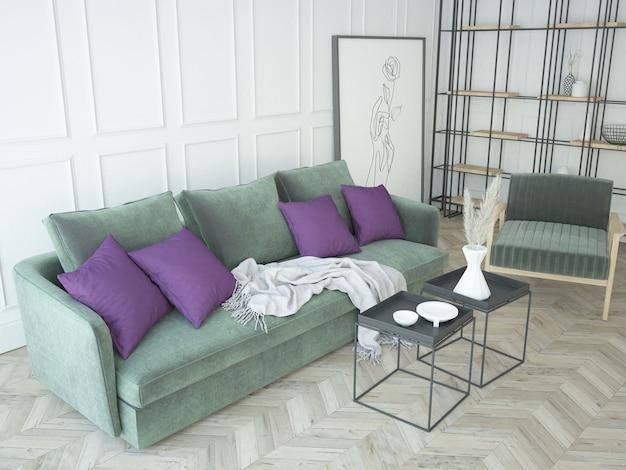 Klasyczny, nowoczesny, biały salon z meblami z aksamitu