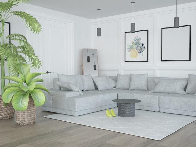 Klasyczny nowoczesny salon z sofą w kształcie litery l i roślinami domowymi