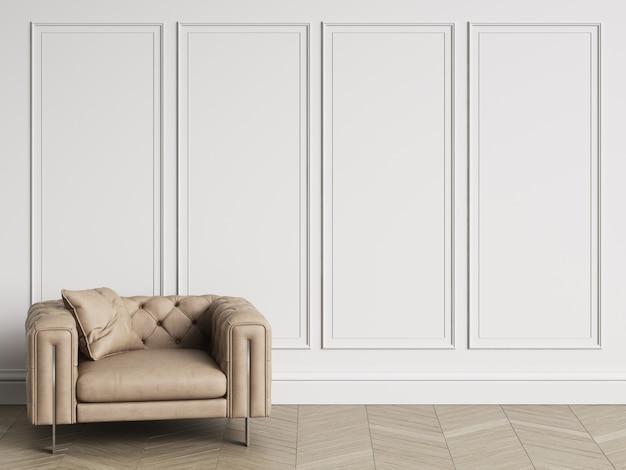 Klasyczny pikowany fotel w klasycznym wnętrzu z przestrzenią do kopiowania. białe ściany z listwami. parkiet podłogowy w jodełkę. renderowania 3d