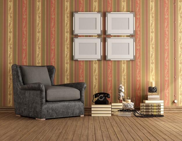 Klasyczny pokój z brązowym klasycznym fotelem