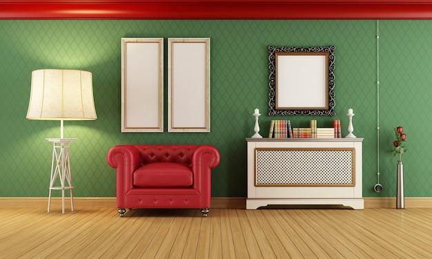 Klasyczny pokój z czerwonym klasycznym fotelem