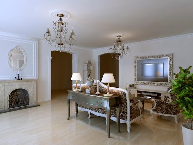 Klasyczny salon z kominkiem i luksusowymi meblami