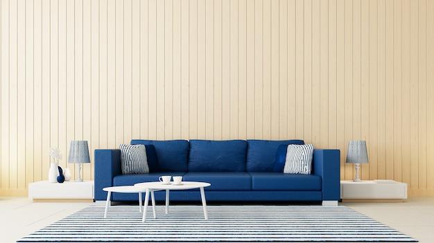Klasyczny salon z niebieską ścianą / rendering 3d