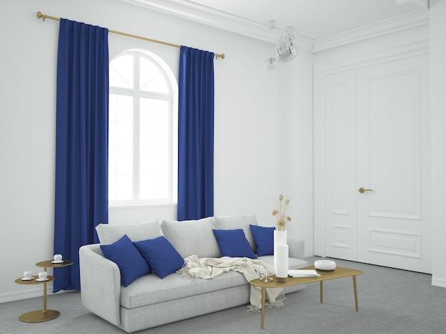 Klasyczny salon z zasłonami i poduszkami