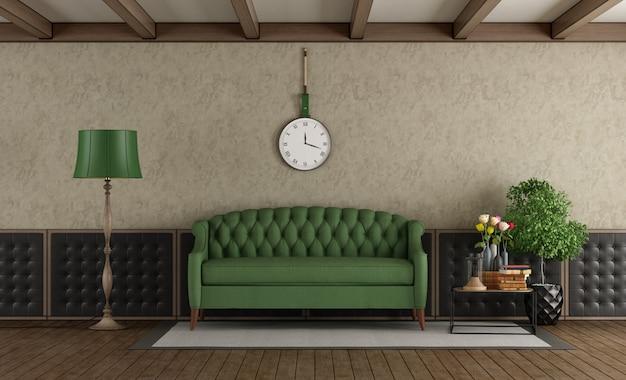 Klasyczny salon z zieloną sofą