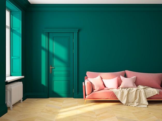 Klasyczny skandynawski wystrój wnętrz zielony z sofą i poduszkami. ilustracja renderowania 3d.