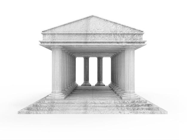 Klasyczny starożytny budynek na białym tle