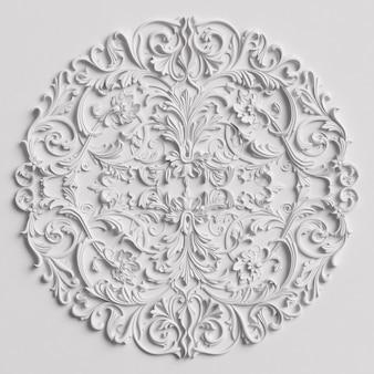 Klasyczny wystrój z ornamentem na białej ścianie