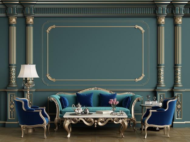 Klasyczny zestaw mebli w klasycznym pokoju