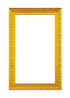 Klasyczny żółty obraz ramki na płótnie na białym tle