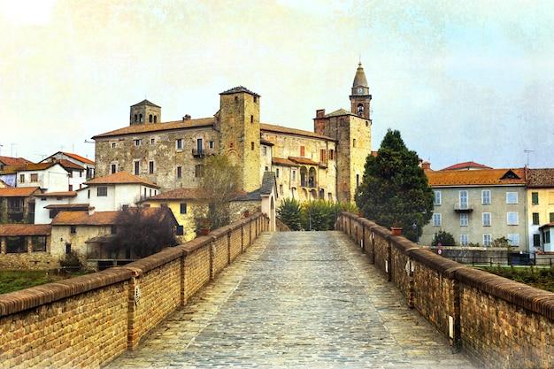 Klasztor i zamek bormida w regione asti w piemoncie, na północy włoch. obraz w stylu retro