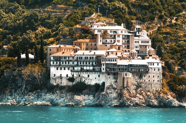 Klasztor osiou gregoriou, widok z morza