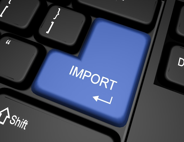 Klawiatura 3d z przyciskiem importu