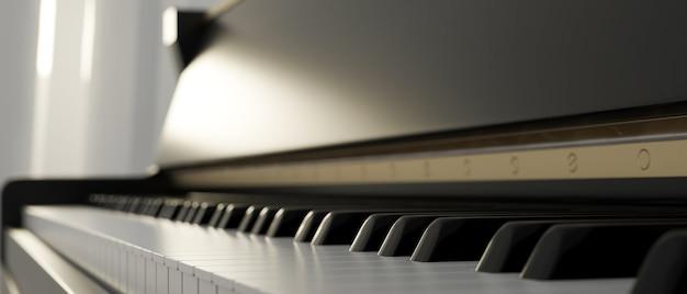 Klawiatura fortepianu instrument klasyczny muzyka dźwięk akord akustyczny czarny fortepian klawiatura z bliska