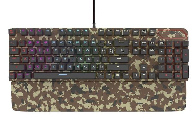Klawiatura komputerowa w kolorze kamuflażu z kolorem rgb na białym tle