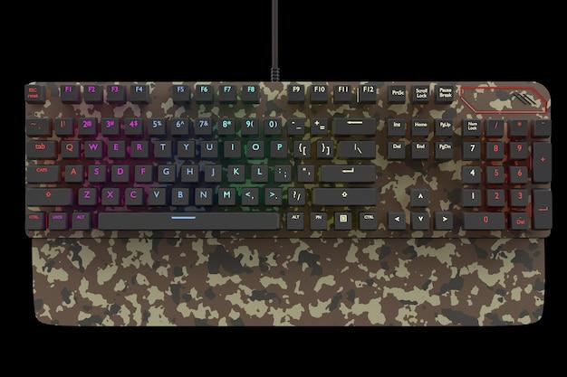 Klawiatura komputerowa w kolorze kamuflażu z kolorem rgb na czarnym tle