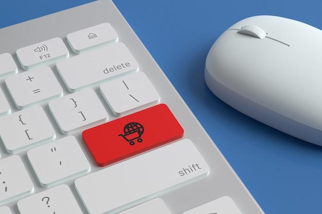 """Klawiatura komputerowa z ikoną """"e-commerce"""" na klawiszu obok myszy."""